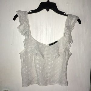 White ruffled trim crop top. Size small.